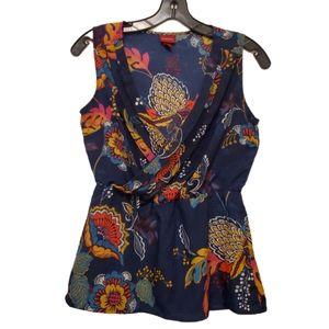 3x$20 ❤ Merona Floral Wrap sleeveless blou…